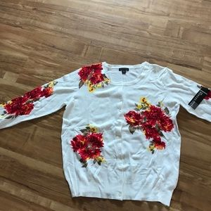 Flowered Cardigan Sweater